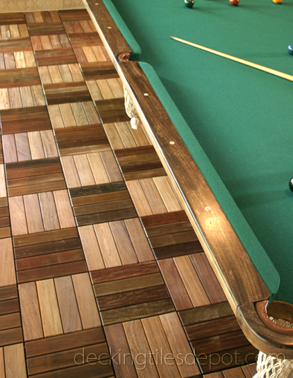 Deck Tiles used Indoors around a Pool Table